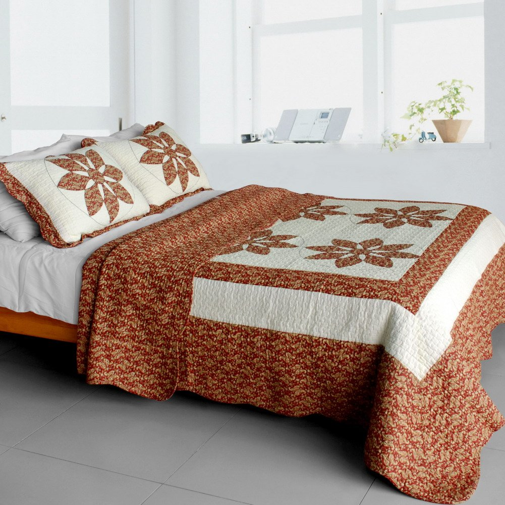 QTS-SJIN9187-23[Maple Leaf] 3PC Vermicelli-Quilted Patchwork Quilt Set (Full/Queen Size)