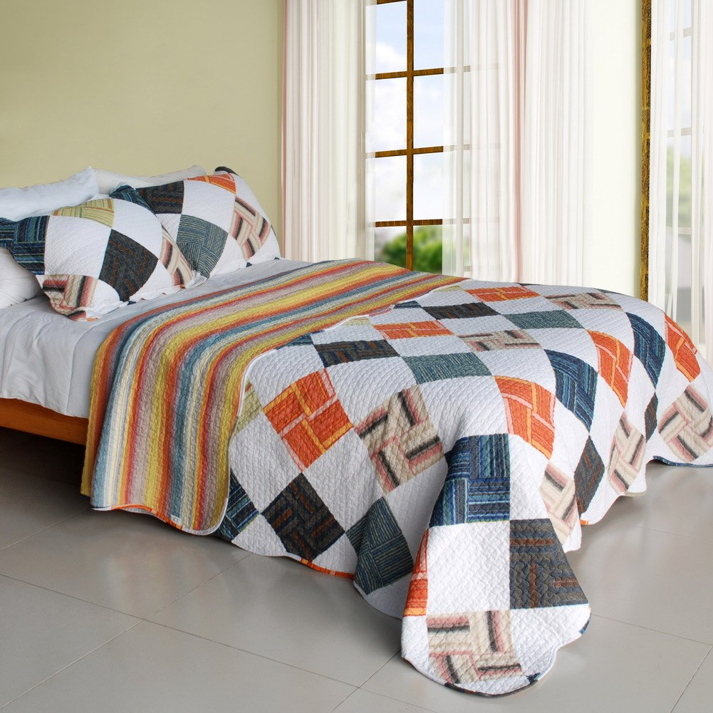 QTS-SJIN9191-23[Western Plaid] 3PC Vermicelli-Quilted Patchwork Quilt Set (Full/Queen Size)