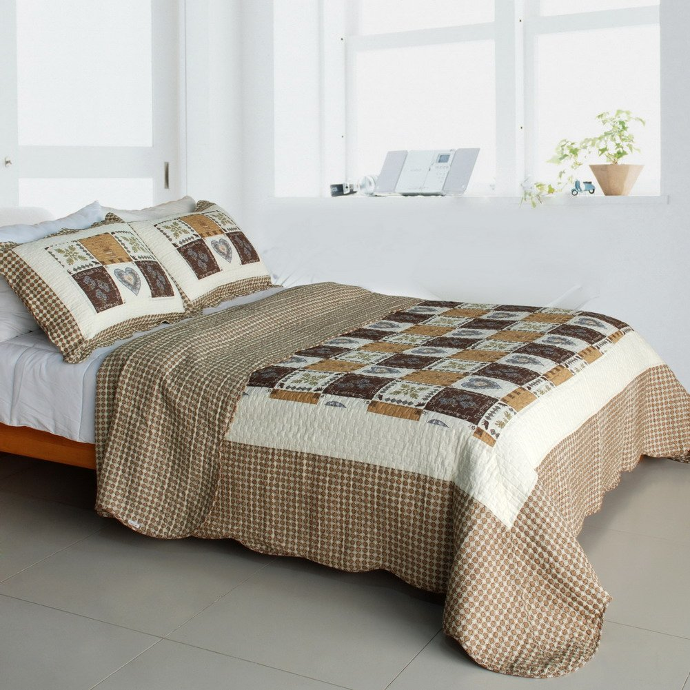 QTS-SJIN9192-23[Summer Paradise] 3PC Vermicelli-Quilted Patchwork Quilt Set (Full/Queen Size)