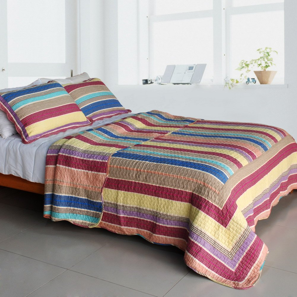 QTS-SJIN9199-23[Rainbow Song] 3PC Vermicelli-Quilted Patchwork Quilt Set (Full/Queen Size)
