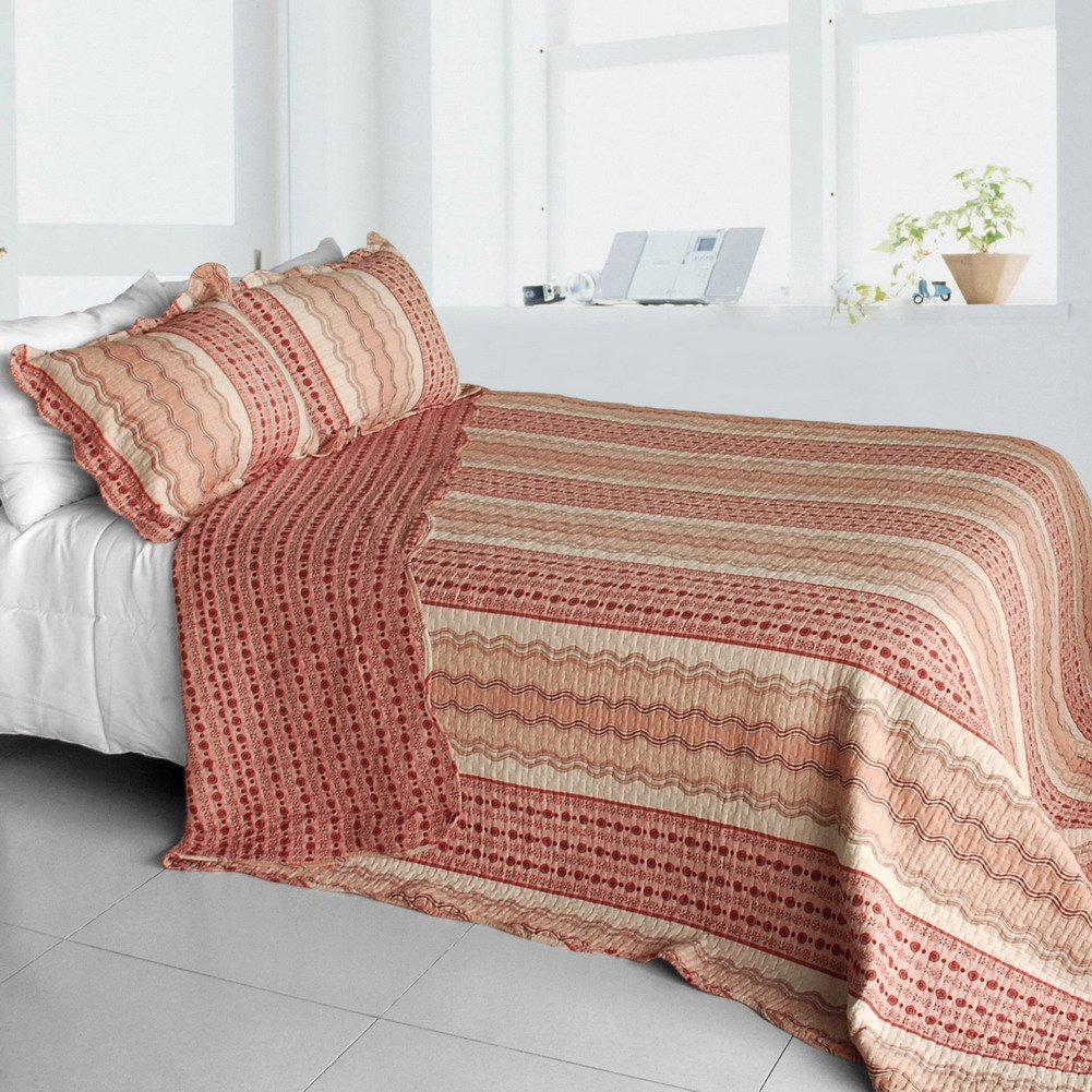 QTS-SJIN9219-23[Polka Dot Stripe] 3PC Vermicelli-Quilted Patchwork Quilt Set (Full/Queen Size)