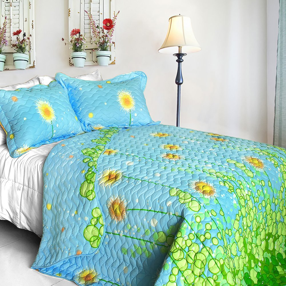 ONITIVA-QTS01038-4[Dandelion Dancing Night] 3PC Patchwork Quilt Set (King Size)