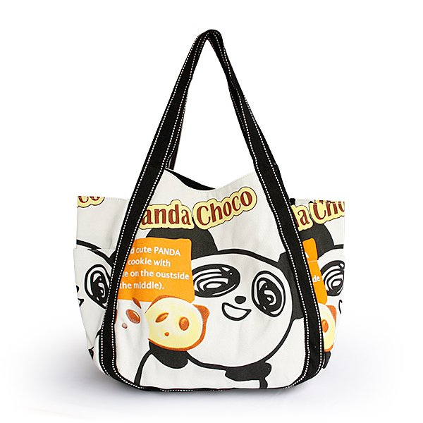 ILEA-ABH-04041[Panda Choco] Cotton Eco Canvas Shoulder Tote Bag / Multiple Pockets
