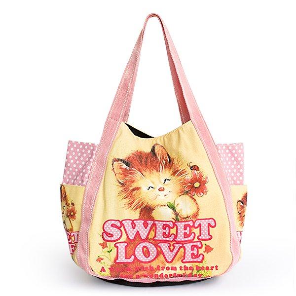 ILEA-APJ-03024[Sweet Love] Cotton Eco Canvas Shoulder Tote Bag / Multiple Pockets