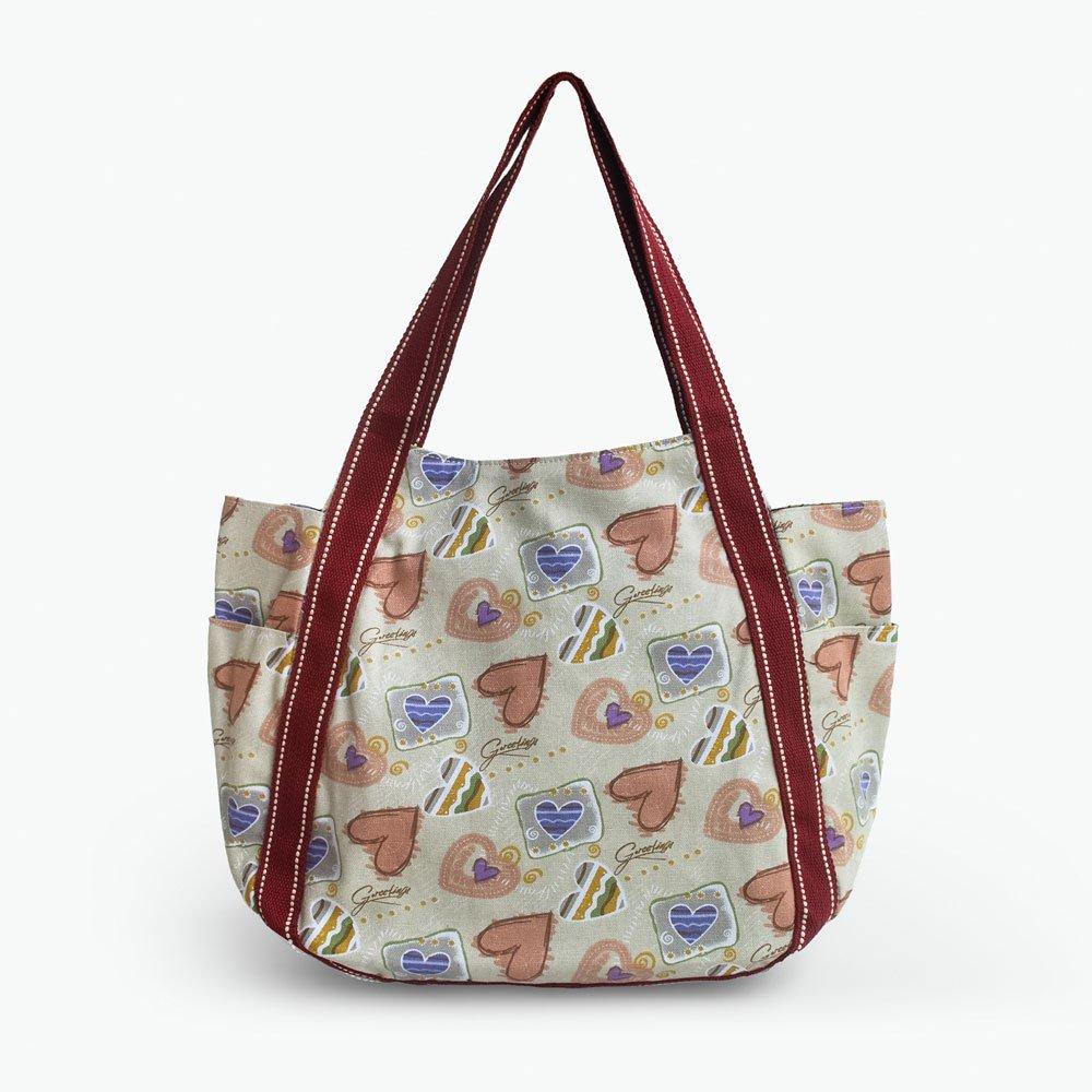 ILEA-ARP-00112[Soulmate] Cotton Eco Canvas Shoulder Tote Bag / Multiple Pockets