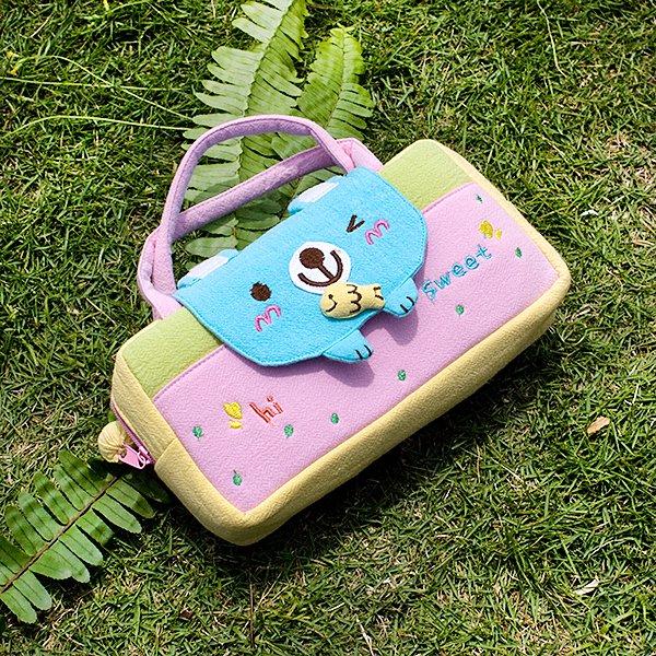 KT-BB-22-BEAR[Sweet Bear] Kids Mini Handbag / Cosmetic Bag / Travel Wallet (7.8*5.5*1.4)