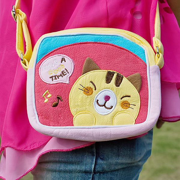 KT-BE-18-CAT[Yellow Kitty] Swingpack Bag Purse / Wallet Bag / Shoulder Bag (5.5*4.7*1.2)