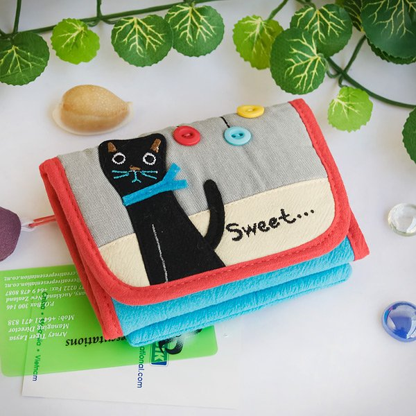 KT-BE-34-CAT[Sweet Black Cat] Fabric Art Trifold Wallet Purse / Card Holder (4.7*3.5)