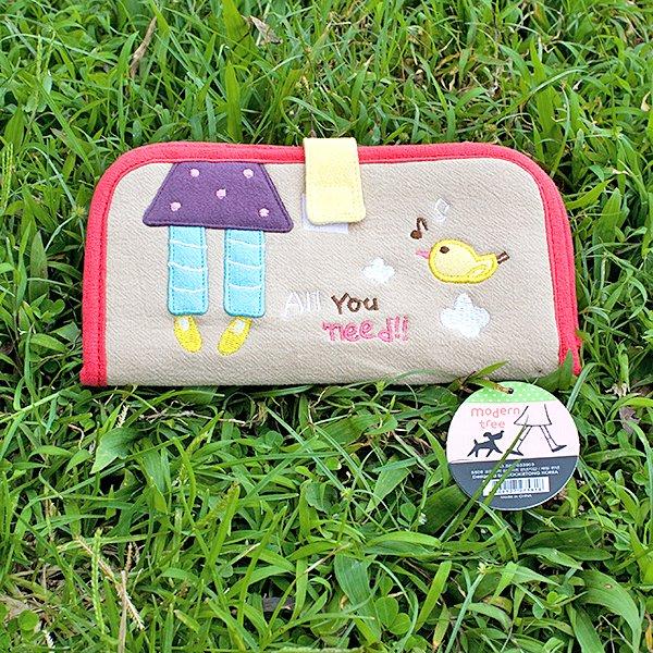 KT-BE-7-KHAKI[All You Need] Fabric Art Wallet Purse / Card Holder / ID Holder (7.1*3.7)