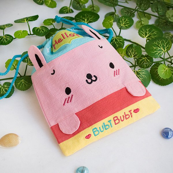 KT-BE-9-RABBIT[Bubi Bunny] Fabric Art Draw String Bag / Drawstring Pouch (6.7*8.5)