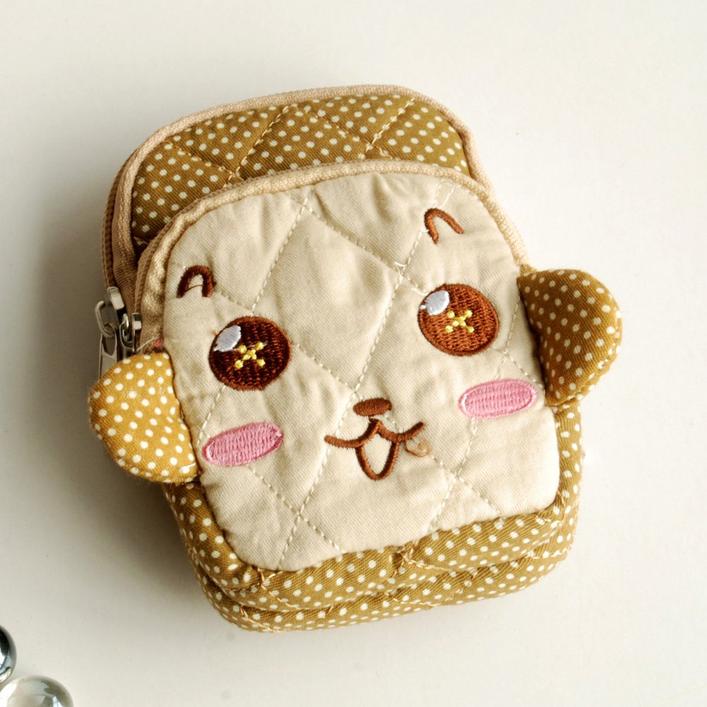 KTFK-THH517-COFFEE[Lovely Monkey] Fabric Art Wallet Purse/ Pouch Bag (2.9 X 4.7 X 0.98 inches)