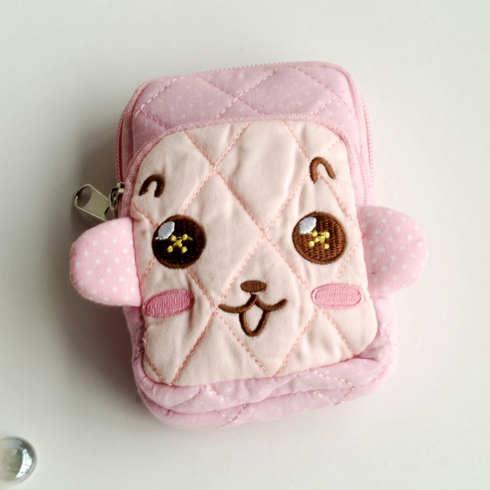 KTFK-THH517-PINK[Brave Monkey] Fabric Art Wallet Purse/ Pouch Bag (2.9 X 4.7 X 0.98 inches)