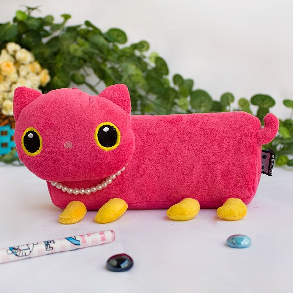 KT-HQ-31-PINK-1[Pink Kitty] Large Plush Gadget Pencil Pouch Bag / Cosmetic Bag (7.9*3.1*1.5)