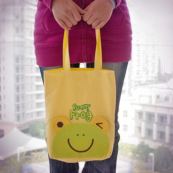 KT-HQ-36-FROG[Funny Frog] Kids Fabric Art Kids Tote Bag / Shopper Bag (9.5*10.6*2.1)