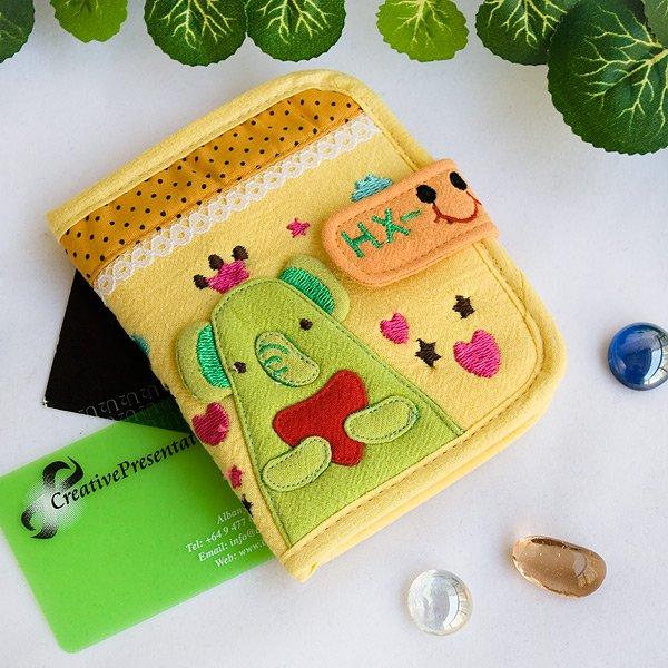 KT-HX-10-YELLOW[Green Elephant] Fabric Art Wallet Purse / Card Holder (4.7*3.7)