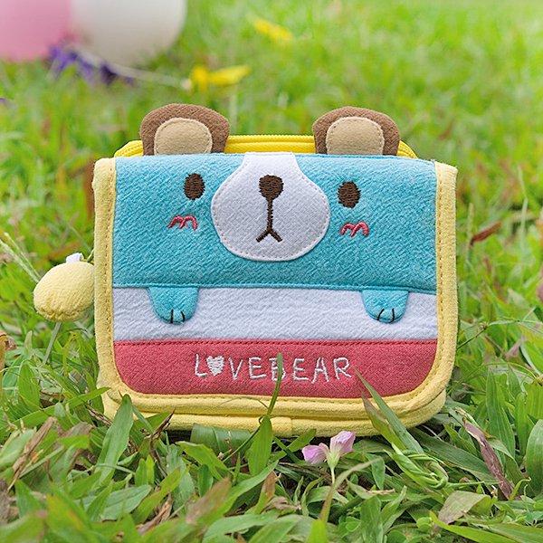 KT-K-124-BEAR[Love Bear] Fabric Art Trifold Wallet Purse / Card Holder (4.5*3.5)