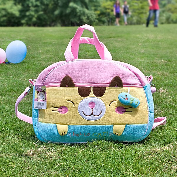 KT-K-138-CAT[Hello Cat] Fabric Art Duffle Bag / Shoulder Bag / Travel Bag (12.2*9.1*4)