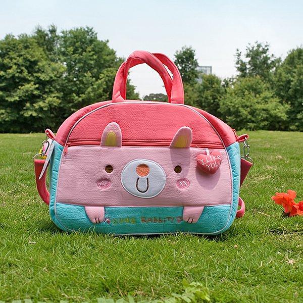 KT-K-138-RABBIT[Cute Rabbit] Fabric Art Duffle Bag / Shoulder Bag / Travel Bag (12.2*9.1*4)