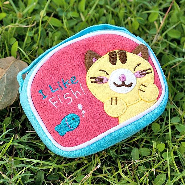 KT-K-144-CAT[Kitty & Fish] Fabric Art Wrist Wallet / Coin Purse (4.1*3)