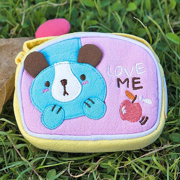 KT-K-144-DOG[Puppy & Apple] Fabric Art Wrist Wallet / Coin Purse (4.1*3)