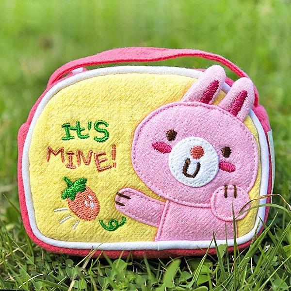 KT-K-144-RABBIT[Rabbit & Carrot] Fabric Art Wrist Wallet / Coin Purse (4.1*3)