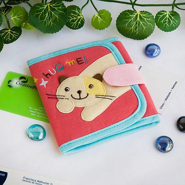 KT-K-191-CAT[Hug Me] Fabric Art Trifold Wallet Purse / Card Holder (4.7*4.3)