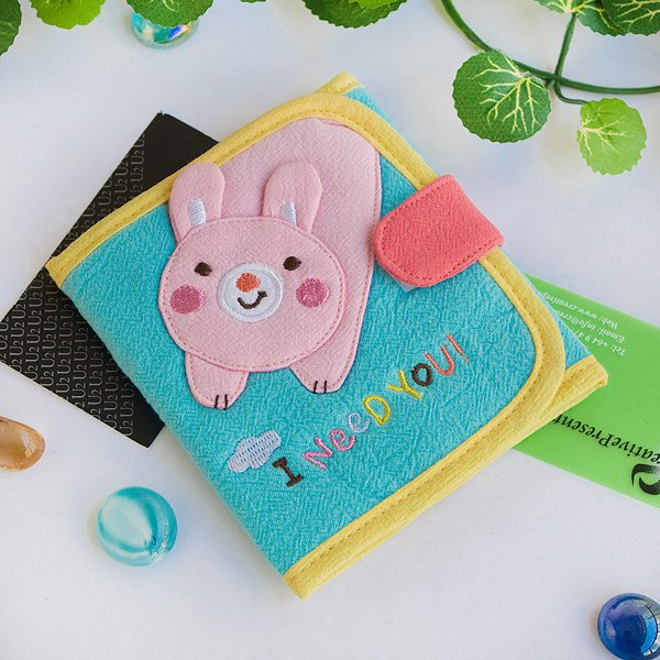 KT-K-191-RABBIT[I Need You] Fabric Art Trifold Wallet Purse / Card Holder (4.7*4.3)