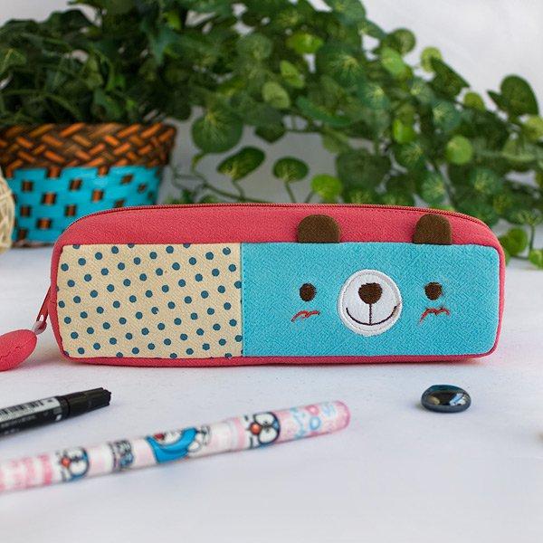 KT-K-201-BEAR[Polka Dots Bear] Pencil Pouch Bag / Cosmetic Bag / Carrying Case (7.5*1.9*1.6)