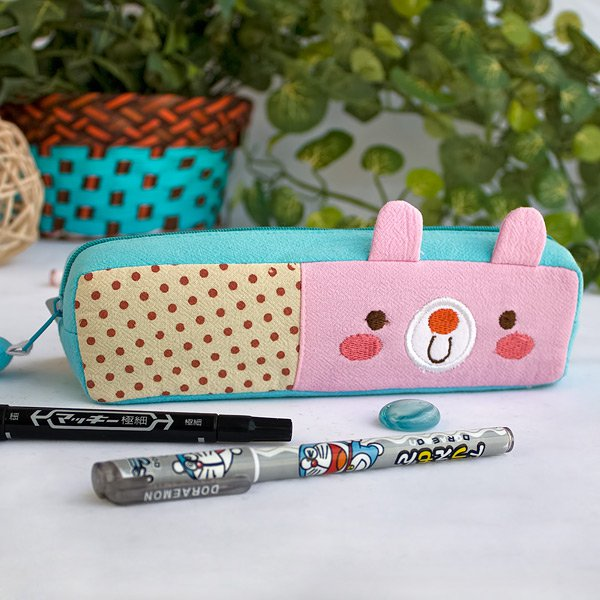 KT-K-201-RABBIT[Polka Dots Bunny] Pencil Pouch Bag / Cosmetic Bag / Carrying Case(7.5*1.9*1.6)