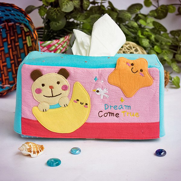 KT-K-204-BEAR[Bear & Moon] Embroidered Applique Fabric Art Tissue Box Cover Holder (8.7*4.5*4.5)