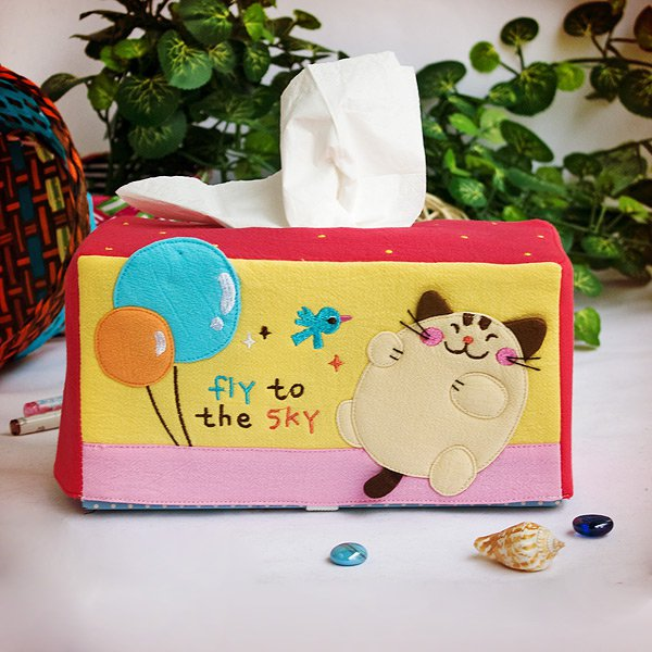 KT-K-204-CAT[Cat & Balloon] Embroidered Applique Fabric Art Tissue Box Cover Holder (8.7*4.5*4.5)