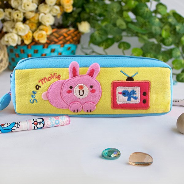 KT-K-218-RABBIT[See a Movie] Pencil Pouch Bag / Cosmetic Bag / Carrying Case (7.5*2.5*1.6)