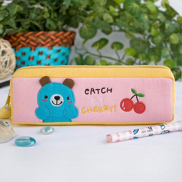 KT-K-223-BEAR[Catch My Cherry] Pencil Pouch Bag / Cosmetic Bag / Carrying Case (7.5*2.2*1.6)