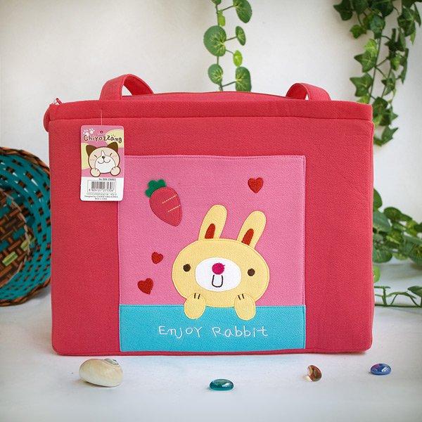 KT-K-31-RABBIT[Enjoy Rabbit] Fabric Art Shoulder Tote Bag / Shopper Bag (12.2*8.4*4.4)