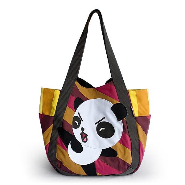 ONITIVA-TOTEBAG002[Kung Fu Panda] Hand-appliqued Fabric Art Shoulder Tote Bag / Shopper Bag