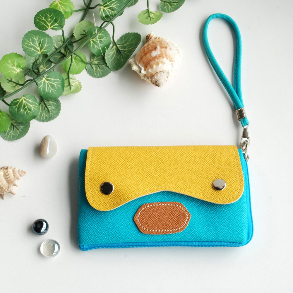 FB-BX004-BLUE[Sweet Orange] Colorful Leatherette Mobile Phone Pouch Cell Phone Case Clutch Pouch