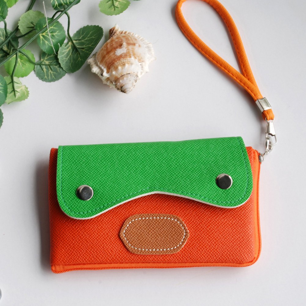 FB-BX005-ORANGE[Light Star] Colorful Leatherette Mobile Phone Pouch Cell Phone Case Clutch Pouch
