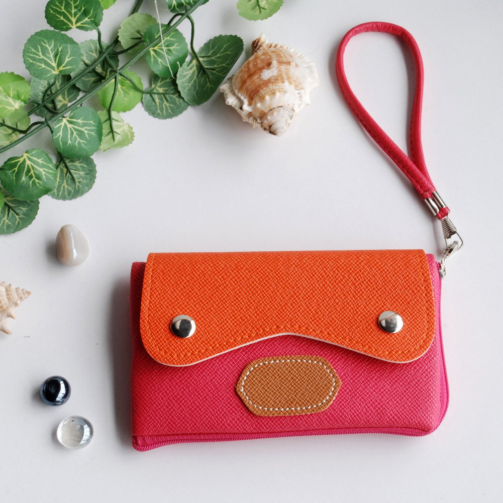 FB-BX007-ROSERED[Charm Twilight] Colorful Leatherette Mobile Phone Pouch Cell Phone Case Clutch Pouc