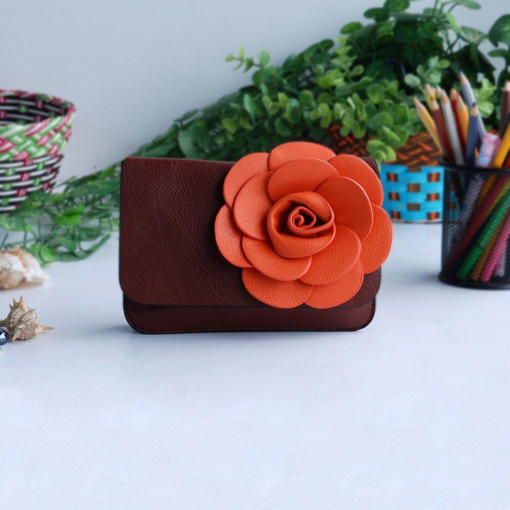 FB-BX060-BROWN[Luxurious Coffee] Flower Leatherette Clutch Shoulder Bag Clutch Casual Purse