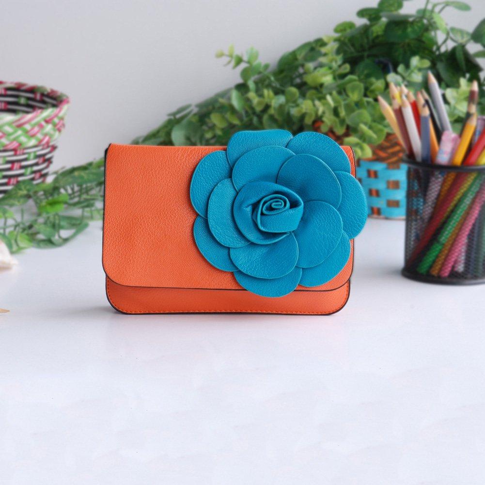 FB-BX060-ORANGE[Fashion Floral] Flower Leatherette Clutch Shoulder Bag Clutch Casual Purse