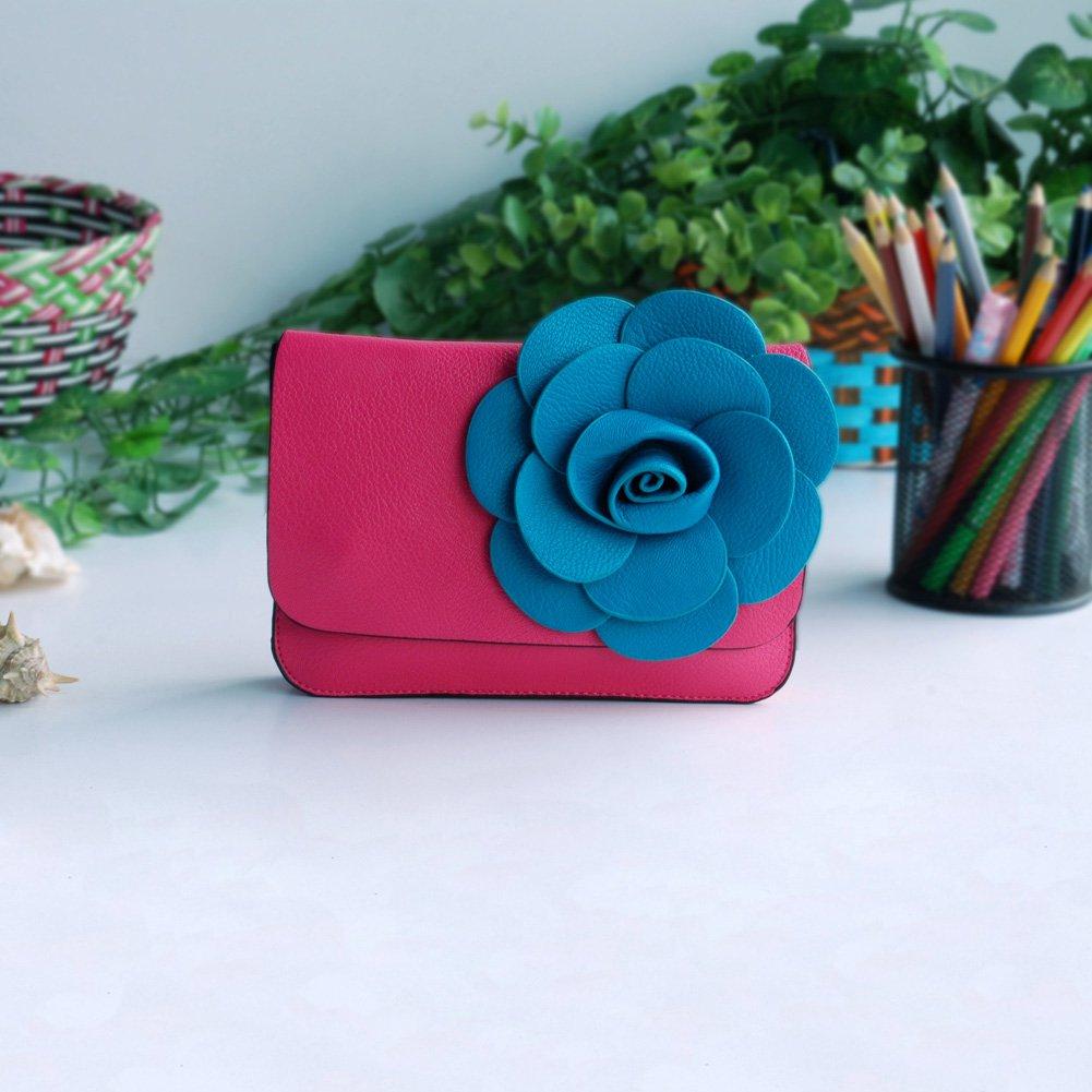 FB-BX060-PINK[Elegant Life] Flower Leatherette Clutch Shoulder Bag Clutch Casual Purse