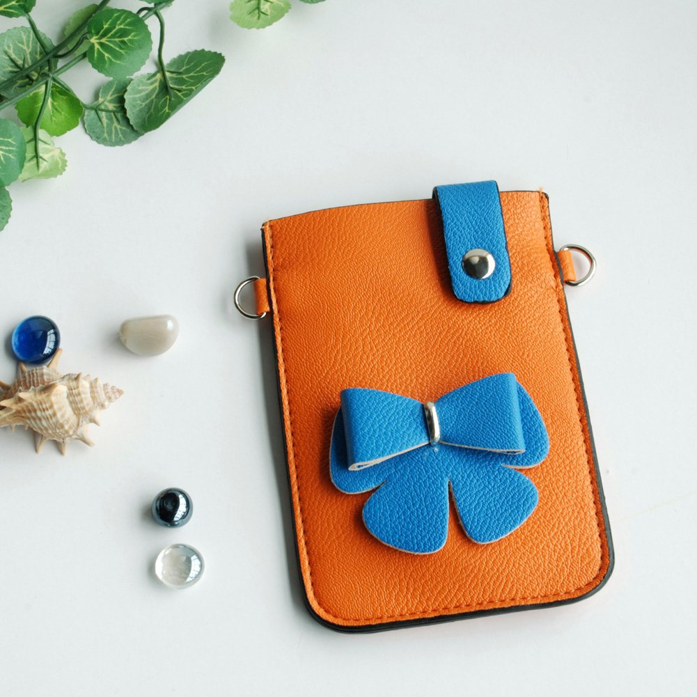 FB-BX9220-ORANGE[Color Collision] Colorful  Leatherette Mobile Phone Pouch Cell Phone Case Clutch Po
