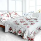 QTS-WB8009-23 [Romantic Pink World] Cotton 3PC Patchwork Quilt Set (Full/Queen Size)