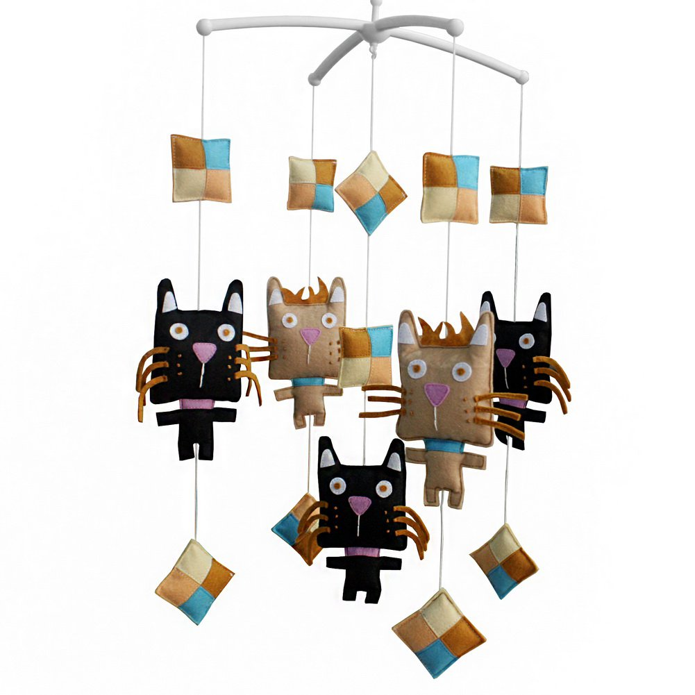 BC-BAB-ONIM0023-BELL-CELI [Muzzy Cat] Baby Crib Mobile Handmade Musical Mobile for Cribs