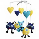 BC-BAB-ONIM0026-WING-CELI [Heart and Monster] Handmade Baby Mobile Crib Rotate Bed Bell with Music