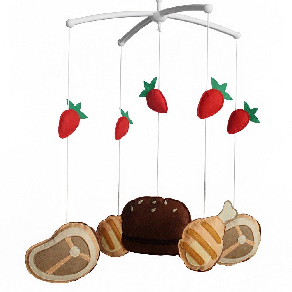 BC-BAB-ONIM0028-WING-CELI [Hamburger] Handmade Baby Hanging Bell Musical Crib Mobile
