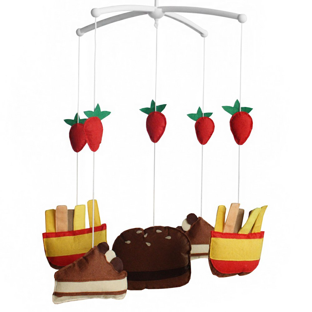 BC-BAB-ONIM0029-WING-CELI [Cake and French-fries] Handmade Infant Musical Crib Mobile