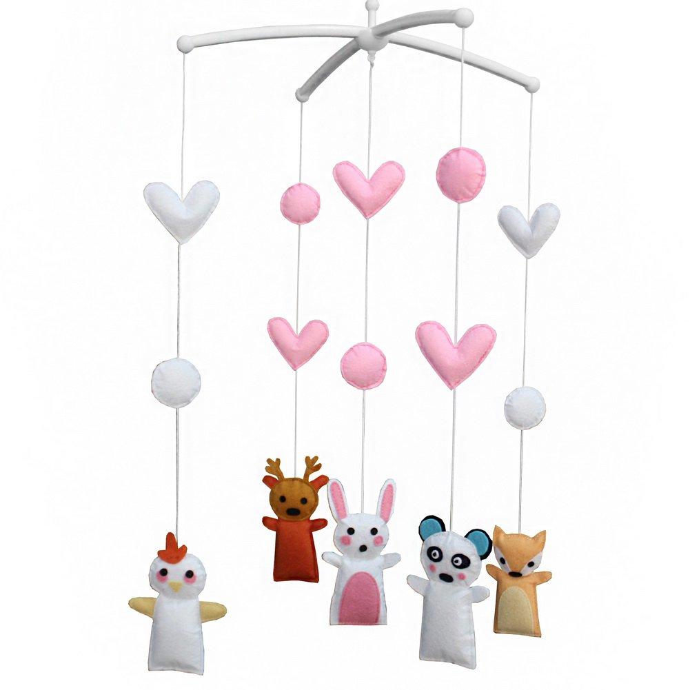 BC-BAB-ONIM0030-BELL-CELI [Cute Animals] Handmade Rotate Musical Baby Crib Mobile