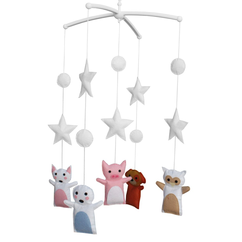 BC-BAB-ONIM0037-BELL-EMMA Cute Animal Baby Crib Dreams Mobile Crib Hanging Bell Musical Toys