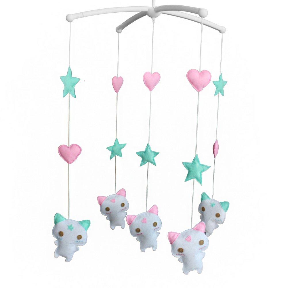 BC-BAB-ONIM0067-BELL-CELI Handmade Musical Dreams Mobile [Lovely Kitties] Rotate Crib Mobile